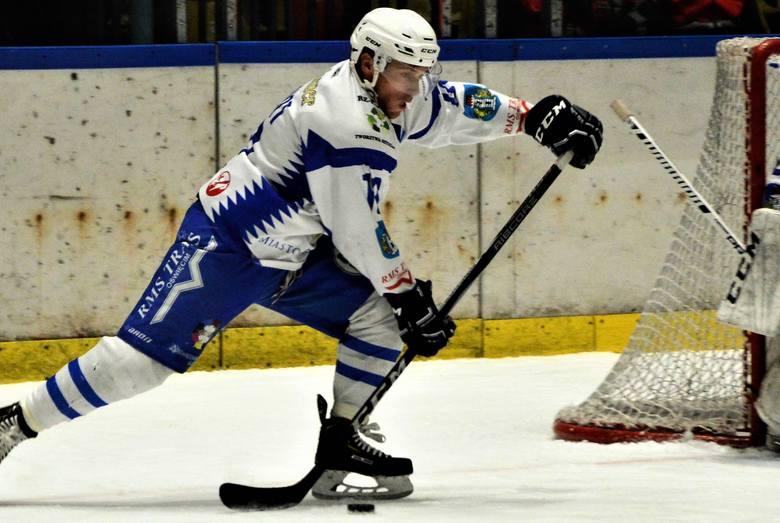 Hokej, ekstraklasa: Lotos PKH Gdańsk - Re-Plast Unia Oświęcim 1:2 po dogrywce. Na zdjęciu: Dariusz Wanat, autor pierwszego gola dla oświęcimian.