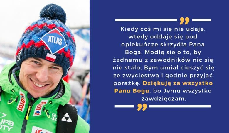 """Jeden z najlepszych polskich skoczków po Adamie Małyszu, """"każdy skok oddaje Panu Bogu"""". Nie wstydzi się wiary, a znak krzyża wykonuje przed każdym wyjściem"""