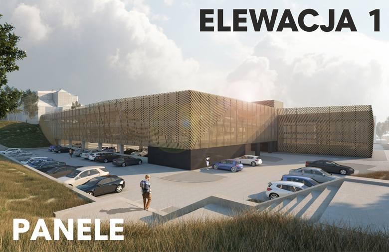 Elewację, która wygrała w głosowaniu internetowym, tworzą panele aluminiowe zamontowane na specjalnej konstrukcji. W zależności od ułożenia mogą tworzyć