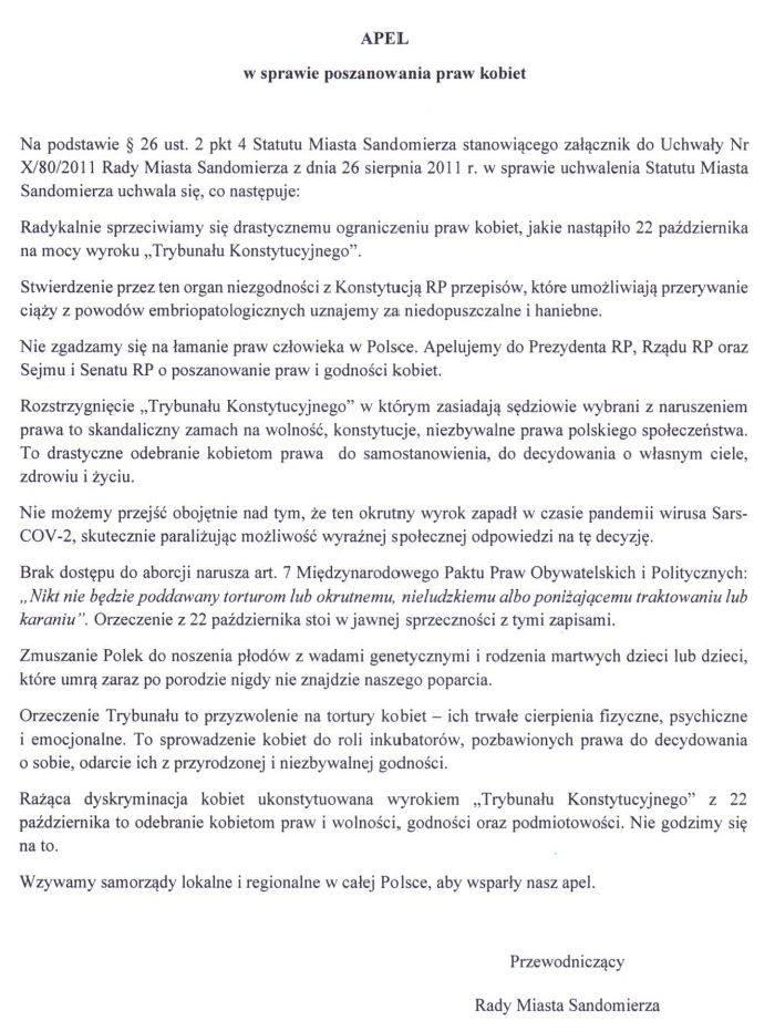Burzliwa dyskusja na sesji w Sandomierzu. Powodem był Apel w Sprawie Poszanowania Praw Kobiet [ZAPIS TRANSMISJI]
