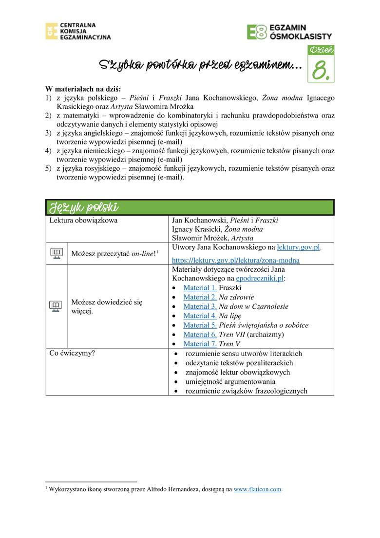 Egzamin ósmoklasisty CKE 2020: zestaw zadań powtórkowych cz. IV