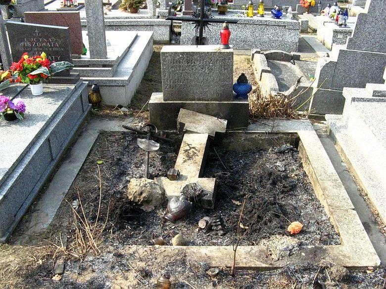 Cmentarz św. Rocha. Zniszczony i podpalony nagrobek (zdjęcia)