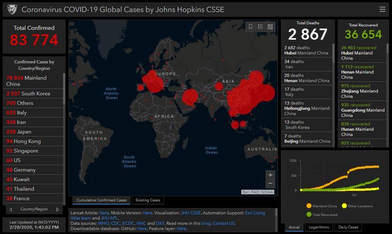 Mapa zasięgu epidemii chińskiego koronawirusa COVID-19 (piątek 29.02.20)