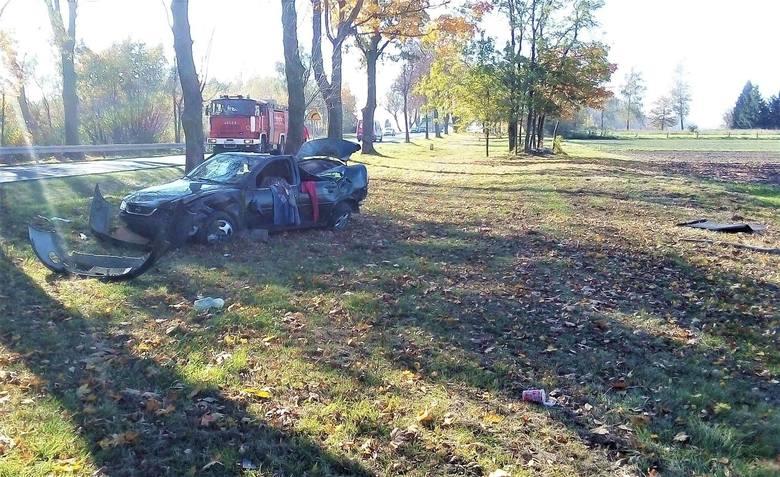 Gdy strażacy przybyli na miejsce, okazało się, że osobowy opel wypadł z drogi i prawdopodobnie uderzył w drzewo. Wbrew treści zgłoszenia, kierowcy nie