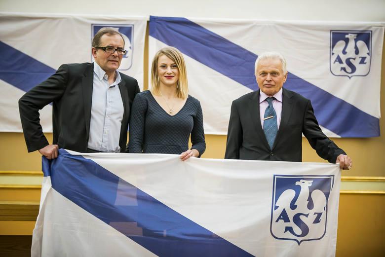 Patrycja Wyciszkiewicz i prezes AZS Poznań, Tomasz Szponder