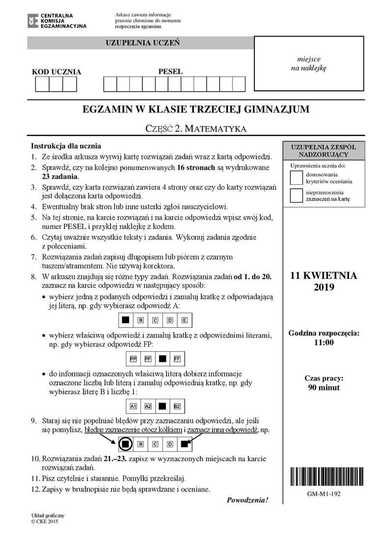 Egzamin gimnazjalny 2019 - matematyka [ODPOWIEDZI]