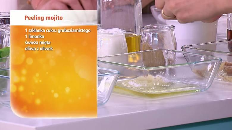 DOMOWY PEELING ODŻYWIAJĄCY oliwa z  oliwek1 limonkaświeża mięta1 szklanka cukru gruboziarnistego