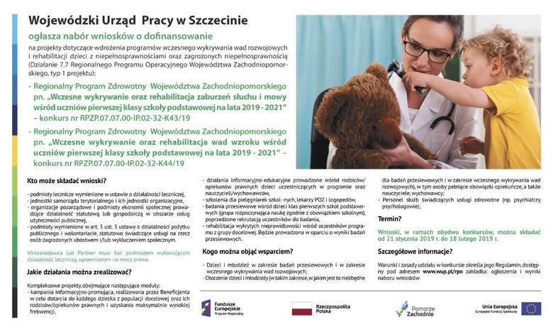 Wojewódzki Urząd Pracy w Szczecinie ogłosił nabór wniosków o dofinansowanie