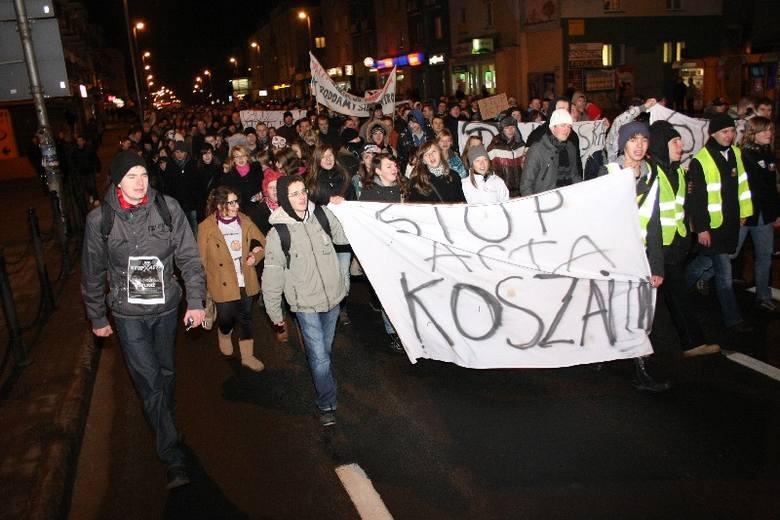 Protest przeciwko ACTA w Koszalinie.