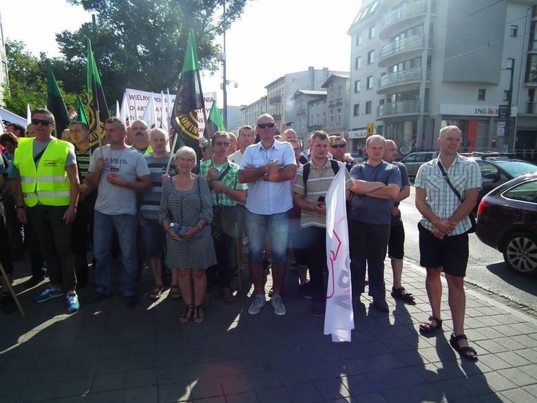 Manifestacja górników w Poznaniu