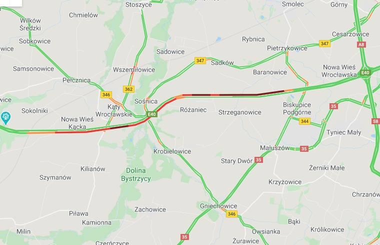 Karambol na A4 pod Wrocławiem. Duże korki w obu kierunkach