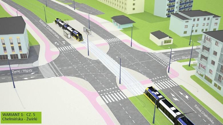 Wizualizacje przebiegu Trasy Staromostowej w ciągu Szosy Chełmińskiej, już po wybudowaniu linii tramwajowej (proponowane w toku konsultacji warianty)