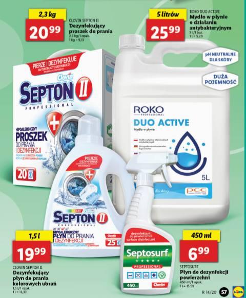 Lidl wprowadza do oferty środki do dezynfekcji, również dezynfekujący proszek i płyn do prania. Jaka będzie cena tych produktów?