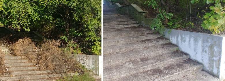 """Schody prowadzące do dawnego """"Miramaru"""" w Sopocie przed i po uprzątnięciu"""