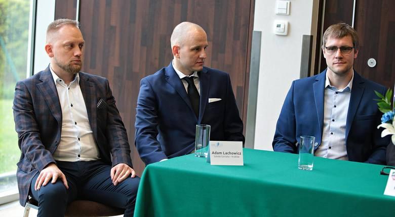 Adam Lachowicz, dyrektor Szkoły Marcina Gortata, Jakub Urbanowicz, szef Szkół Gortata, Mateusz Zubik, prezes AGH Kraków