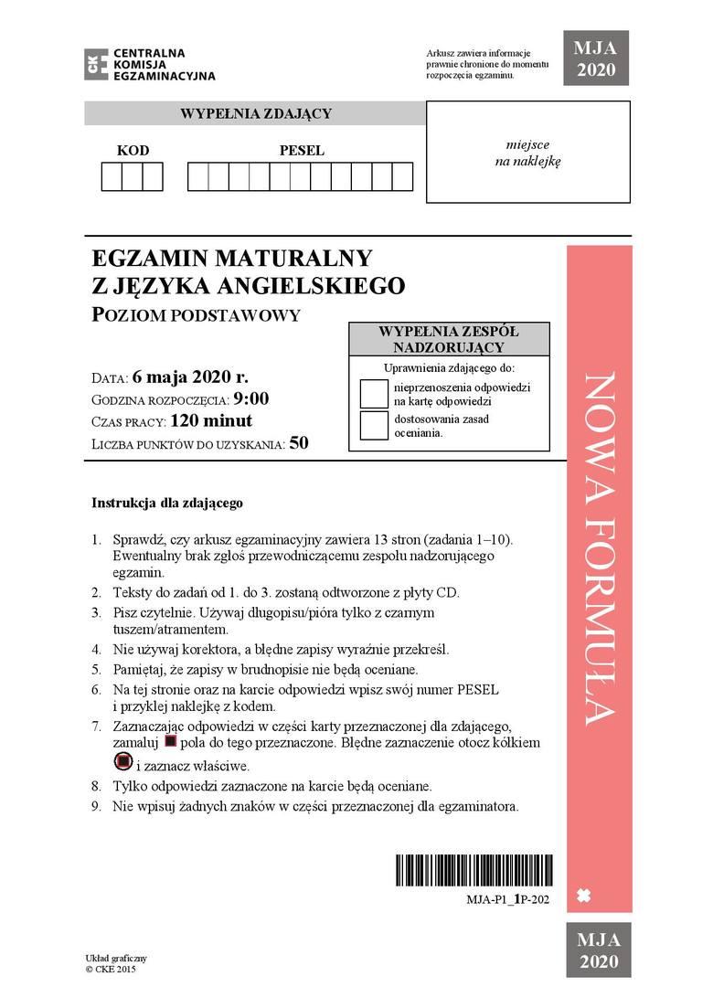 Zobacz zadania i odpowiedzi do arkusza z matury 2020 z języka angielskiego na poziomie podstawowym. Uwaga, nasi eksperci na bieżąco dodają odpowiedzi
