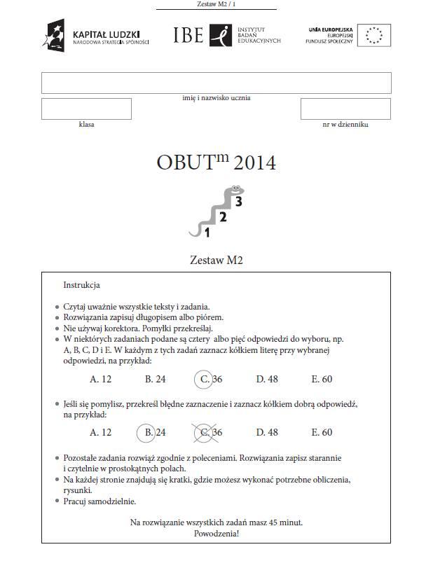 TEST TRZECIOKLASISTY OBUT 2014 [ARKUSZE, ODPOWIEDZI]