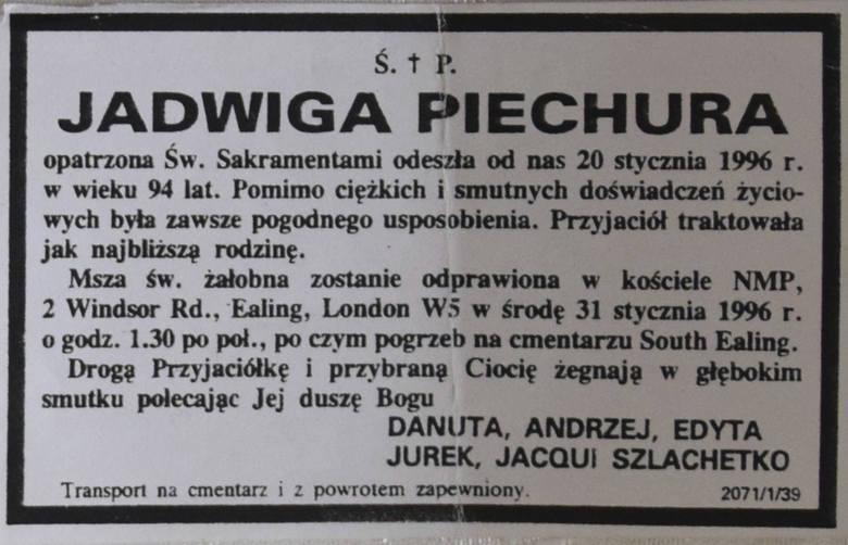 Jadwiga Piechura zmarła w wieku 95 lat w Londynie.<br />