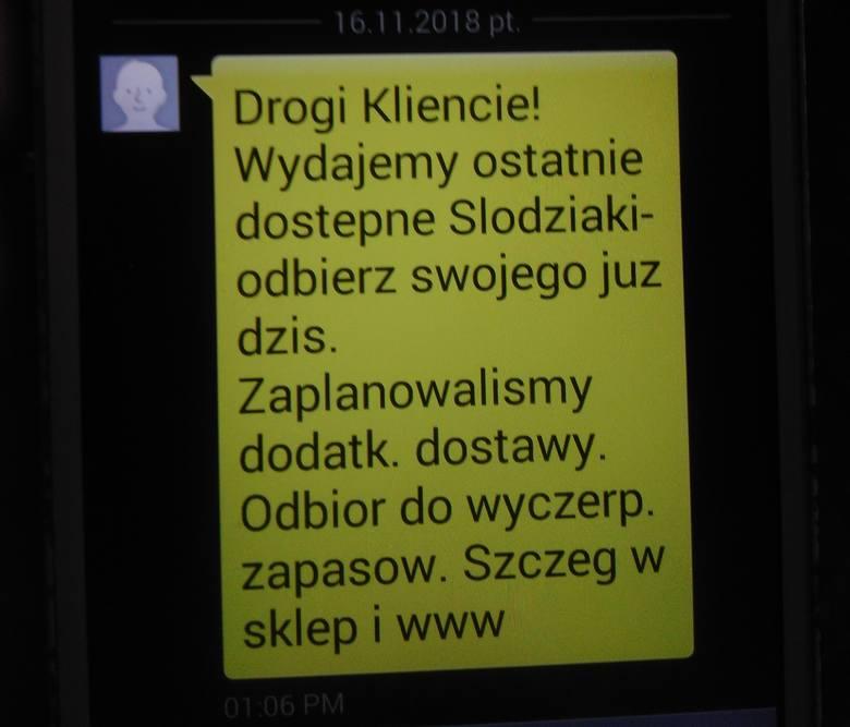 Takie SMS-y informujące o końcu akcji rozsyła dzisiaj sieć Biedronka