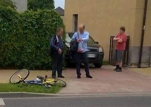 Potrącenie rowerzystki na ul. Batorego w Zielonej Górze (zdjęcia Czytelnika)