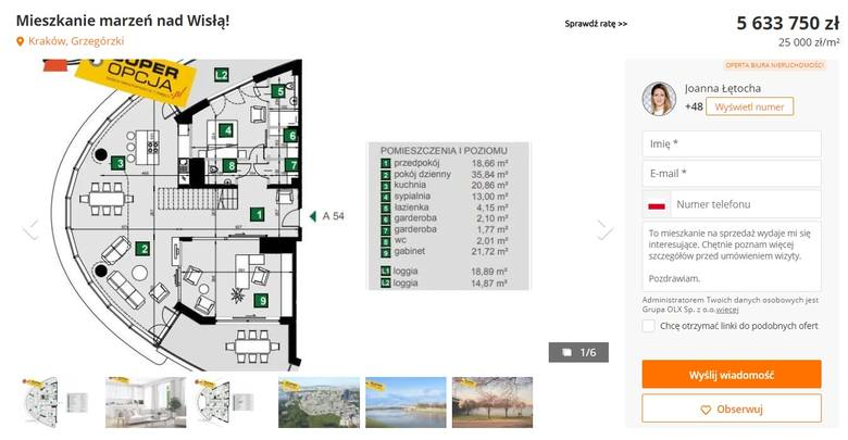 Kolejne mieszkanie na Grzegórzkach, rok budowy 2020. Powierzchnia 225,35 mkw., sześć pokoi, obszerny taras. Mieszkanie na siódmym z 10 pięter apartamentowca.