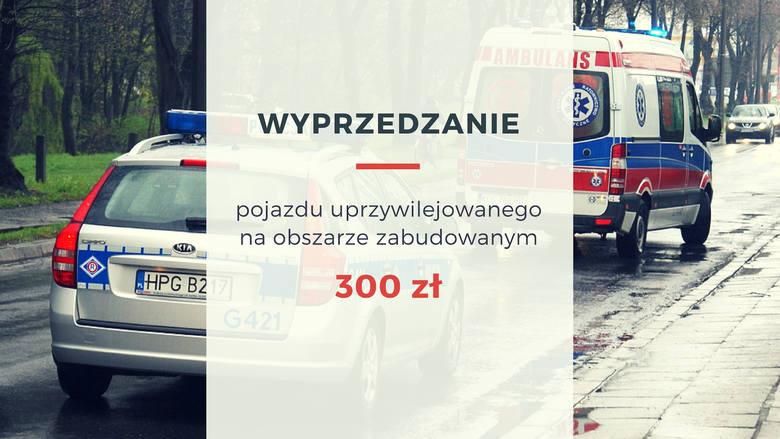 Za wyprzedzanie pojazdu uprzywilejowanego na obszarze zabudowanym dostaniemy mandat na 300 złotych.