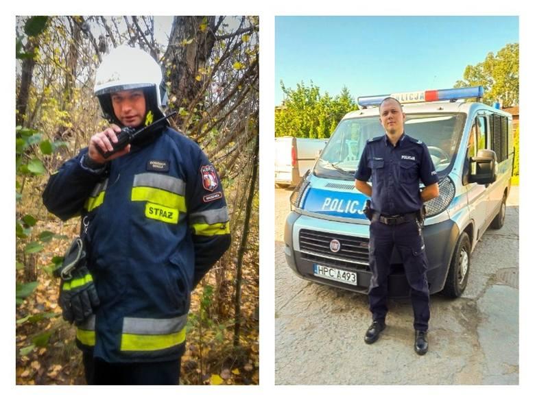 Strażak Krzysztof Tylisz z OSP Kruszwica i policjant sierż. szt. Tomasz Żurański uratowali 64-latkę z zadymionego mieszkania.