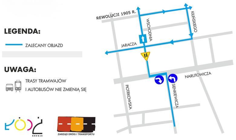 Zmiana organizacji ruchu na skrzyżowaniu Narutowicza i Sienkiewicza [MAPA]