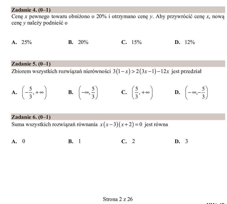 Zobacz zadania i odpowiedzi do arkusza z matury 2020 z matematyki na poziomie podstawowym. Zadanie 4.AZadanie 5.AZadanie 6.BZobacz arkusz i odpowiedzi