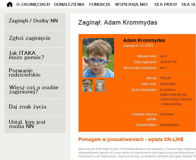 Porwanie Adasia - w akcję poszukiwania chłopca włączyła się też fundacja ITAKA