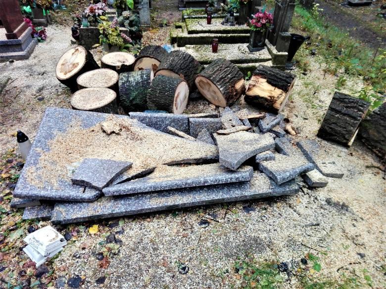 Stary cmentarz przy ul. Wrocławskiej w Zielonej Górze ucierpiał podczas orkanu Ksawery. Drzewa upadające na nagrobki poprzewracały bądź połamały tablice,