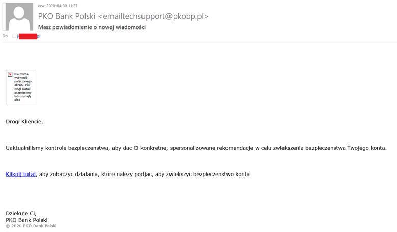 Przykład jednego z fałszywych maili.