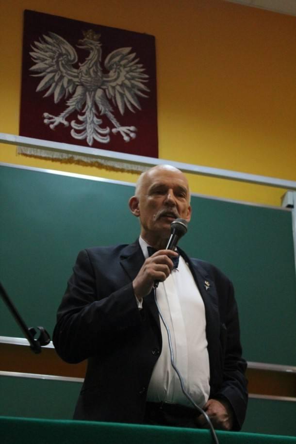 Janusz Korwin-Mikke na spotkaniu z wyborcami w Chełmie