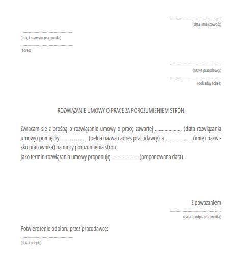 Rozwiązanie umowy za porozumieniem stron - wzór.
