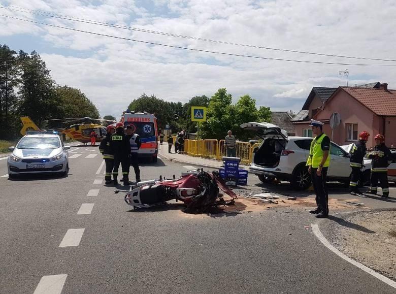 Do wypadku doszło na drodze krajowej nr 79 w miejscowości Wełnin.