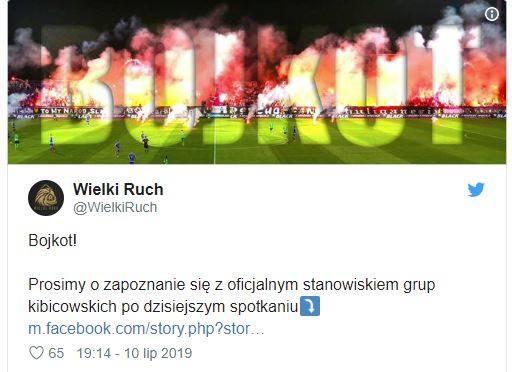 Kibice zasłużonego dla polskiej piłki klubu Ruchu Chorzów postanowili, że do odwołania będzie prowadzony bojkot klubu zarządzanego przez obecne władze.Fani