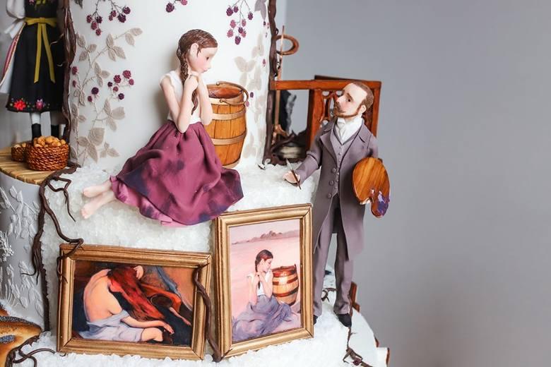 Jowita Woszczyńska wykonała nie tylko figurki m.in. malarza i pozującej mu dziewczyny, ale i reprodukcję dzieł Malczewskiego!