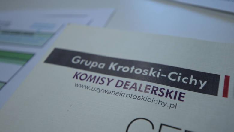 Certyfikat, który wystawił komis dealerski grupy Cichy.