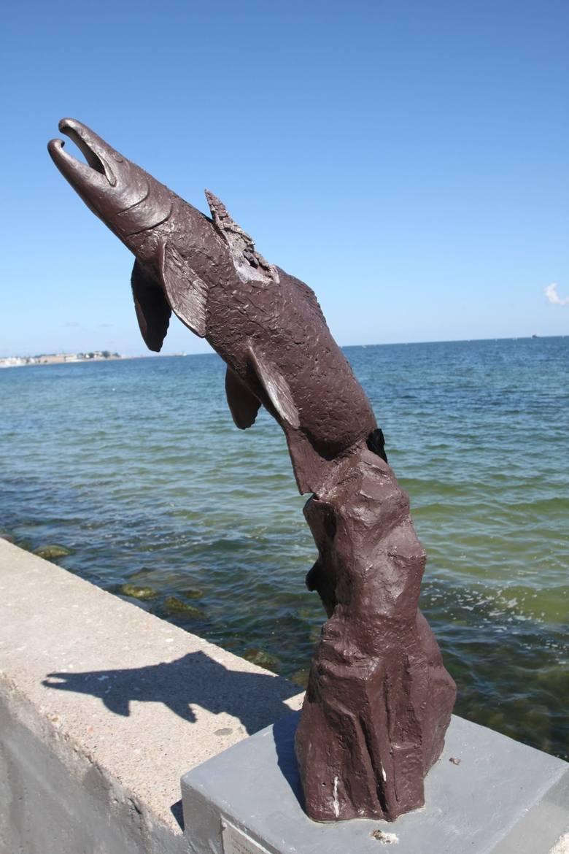 Pomnik łososi srebrzystych w GdyniUwiecznione na pomniku łososie przypłynęły do nas aż z ...Ameryki. Są one darem Seattle - siostrzanego miasta Gdyni.Gdyńskie