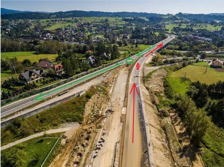W załącznikach na zdjęciach lotniczych narysowane są kierunki jazdy. Kolorem czerwonym Kraków-Nowy Targ, kolorem zielonym od strony Nowego Targu i Zakopanego