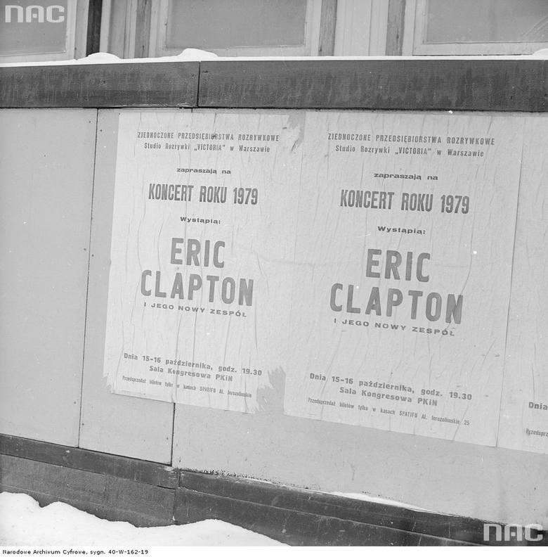 """Plakat """"Koncert roku 1979 - wystąpią: Eric Clapton i jego nowy zespół.<br /> <font color=""""blue""""><a href="""" http://www.audiovis.nac.gov.pl/obraz/203146/2f9408cf38524e55bd83a3c2c0ecaa5c/""""><b>Zobacz zdjęcie w zbiorach NAC</b></a> </font>"""