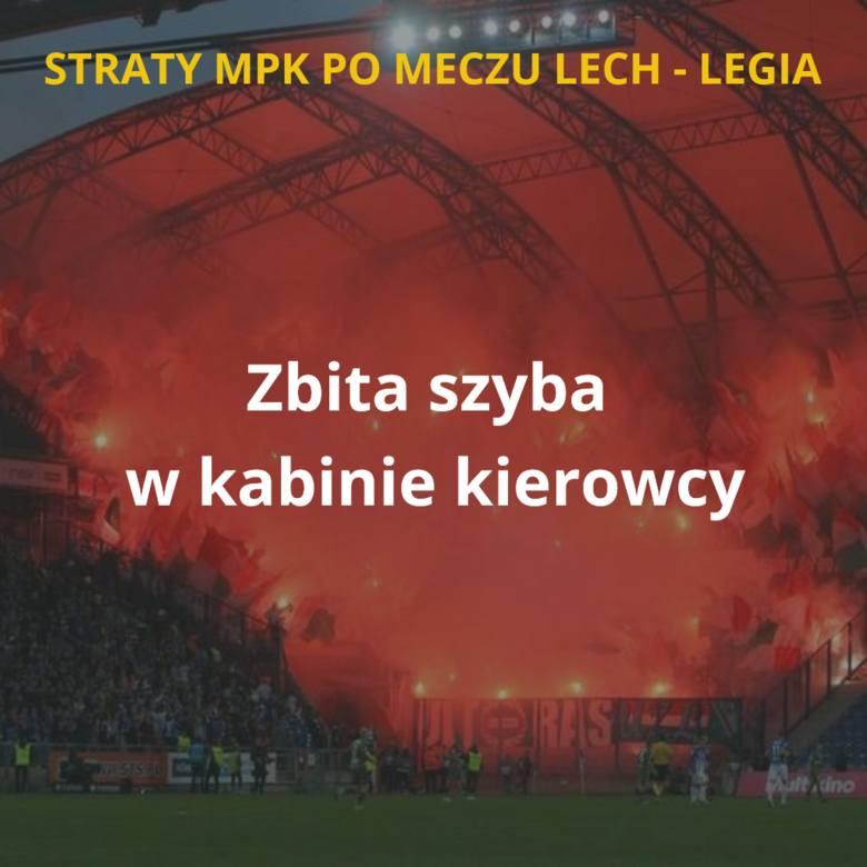 MPK Poznań podliczyło straty po niedzielnym meczu Lech - Legia. Przypomnijmy, że poznańskimi autobusami ze stacji kolejowej na stadion przy Bułgarskiej