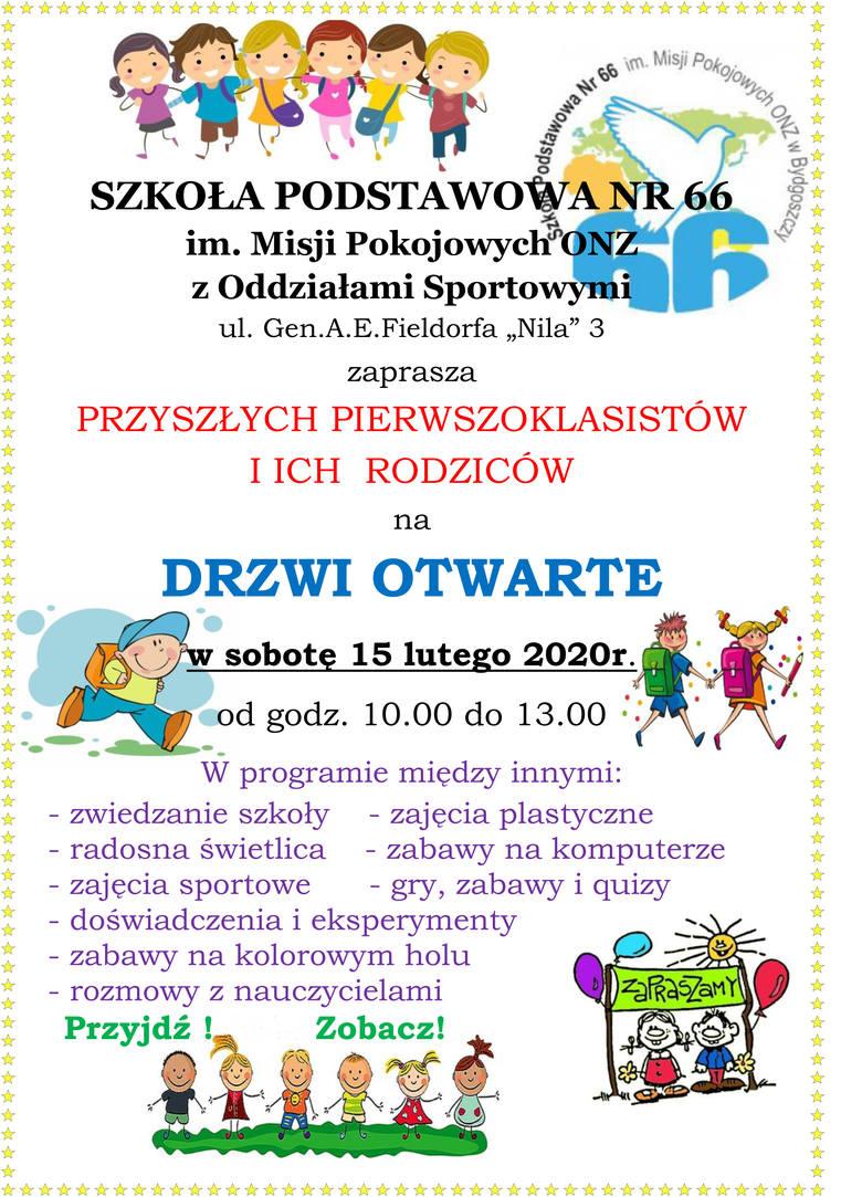 Szkoła Podstawowa nr 66 w Bydgoszczy zaprasza na drzwi otwarte przyszłych pierwszoklasistów i ich rodziców