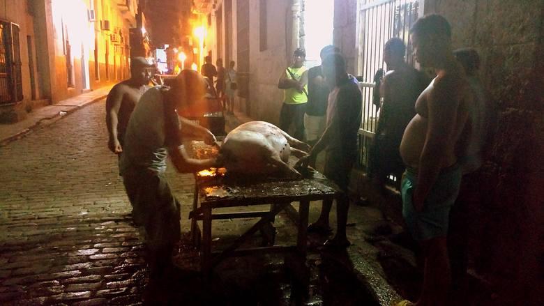 Po brukowanej ulicy, którą za dnia spacerują turyści do portu i baru Dos Hermanos, płynęła struga krwi