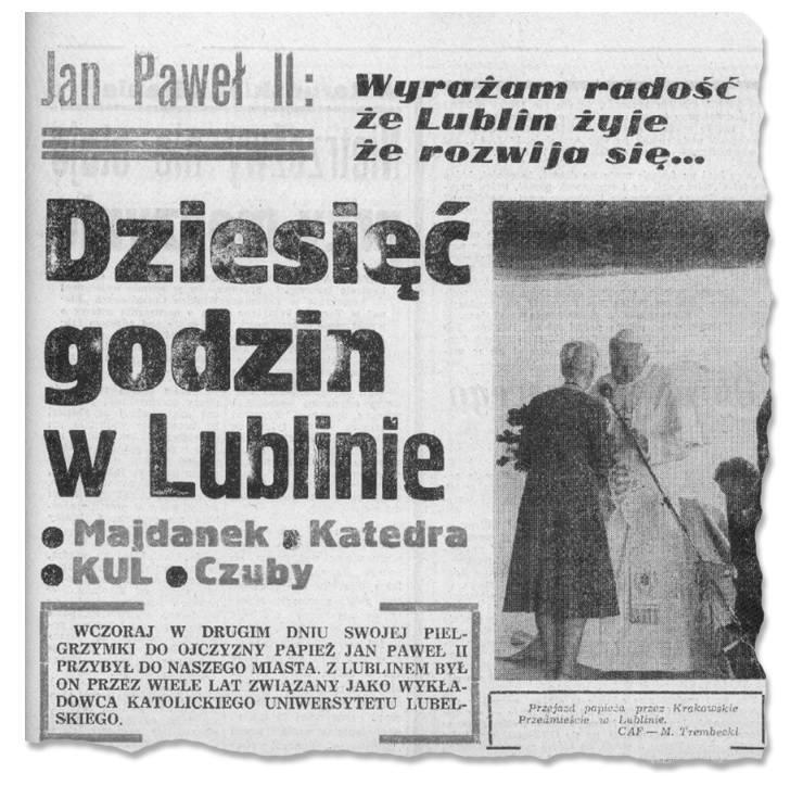 9 czerwca 1987 roku, Jan Paweł II na terenie Państwowego Muzeum na Majdanku.