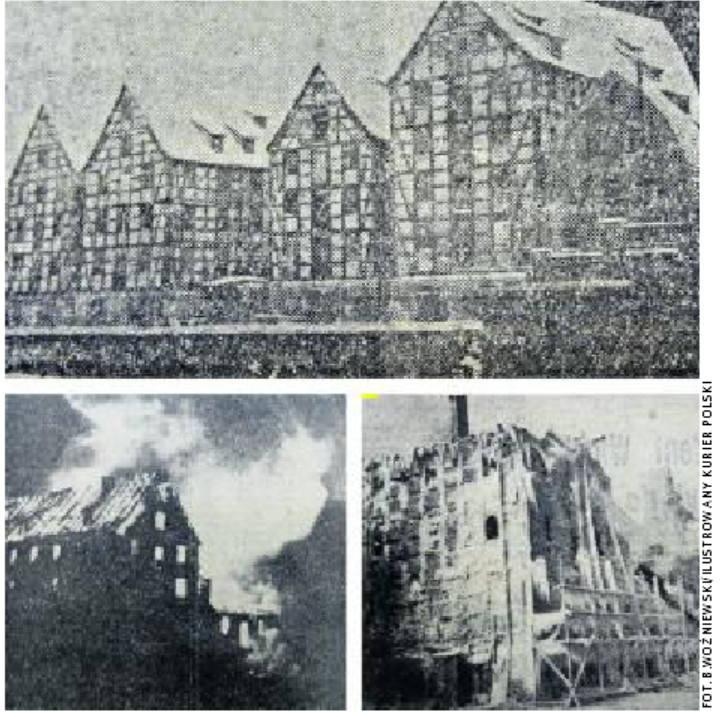 Na archiwalnych zdjęciach mocno ze sobą kontrastują kontury starych spichrzów i jasne płomienie wysoko strzelające w niebo