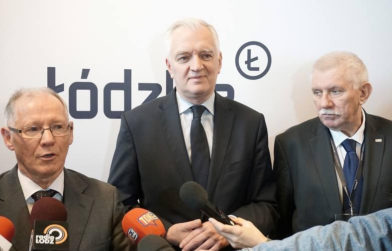 Wicepremier Gowin często odwiedza Łódź (tu z rektorami PŁ i UŁ), ale te wizyty nie przełożyły się na uznanie jego ekspertów...