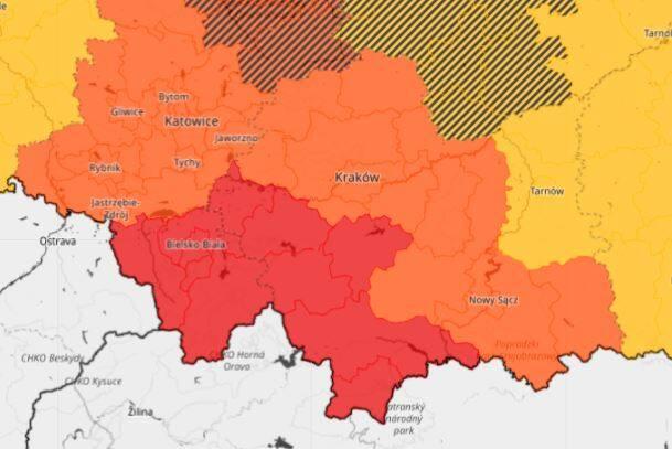 Instytut Meteorologii i Gospodarki Wodnej wydał ostrzeżenie drugiego i trzeciego stopnia dla Małopolski