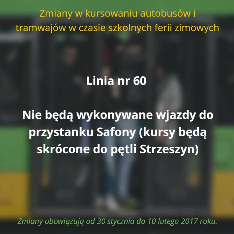 W czasie trwania ferii zimowych, czyli od 30 stycznia do 10 lutego 2017 roku, w Poznaniu zawieszone zostaną tzw. kursy szkolne. Oto pełna lista zmian.Przejdź