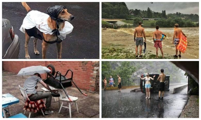 Deszczowe wakacje NAJLEPSZE MEMY. Deszcz, burze i ulewy - tak można podsumować lipiec. Internauci śmieją się z niepogody